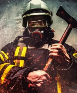 Firefighter Man Paint by numbers