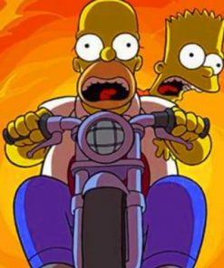 Homer Simpson Riding A Motorcycle Paint by numbers