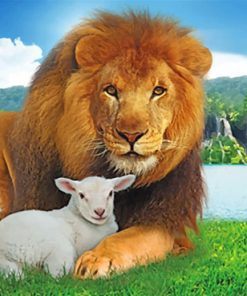 lion-and-lamb-in-paradise-paint-by-number