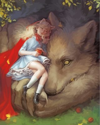 Little Girl With Wolf Paint by numbers