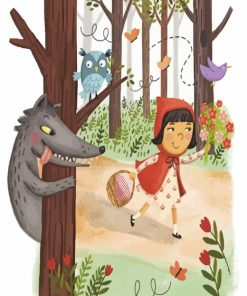 Little Red Riding Hood In Forest Paint by numbers