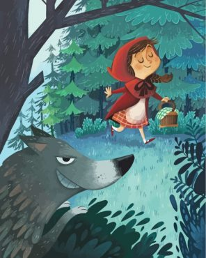 Little Red Riding Hood And Wolf Paint by numbers