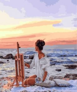 Painter Girl By Sea Paint by numbers