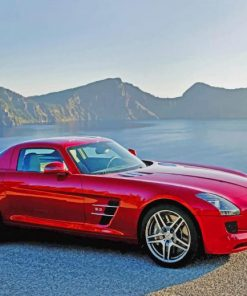 red-Mercedes-mountain-roads-paint-by-numbers