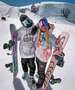 Skiing Couple Paint by numbers