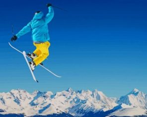 Snow Skiing Jump Paint by numbers