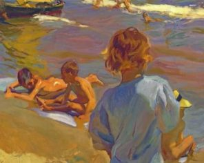 Children On The Beach paint by numbers