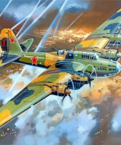 Soviet Pe 8 Bomber Paint by numbers