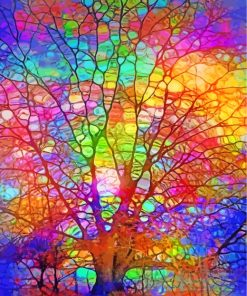Stained Glass Colorful Tree Paint by numbers