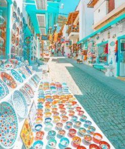 Street Market Kalkan Antalya Turkey Paint by numbers