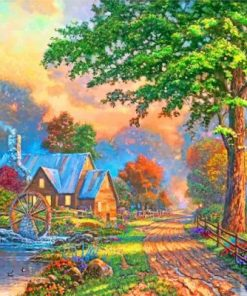 Sweetheart Cottage Thomas Kinkade Paint by numbers