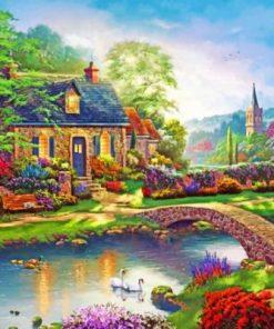 Thomas Kinkade Stoney Creek Cottage Paint by numbers