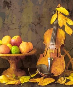 Violin And Fruits Paint by numbers