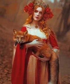 Fox And Woman Paint by numbers