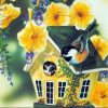 Bird House With Yellow Flowers Paint by numbers