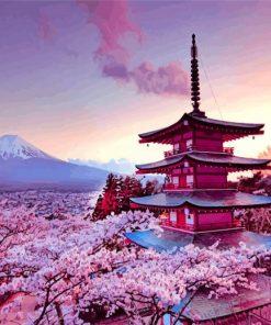 Arakurayama Sengen At Sunset Paint by numbers