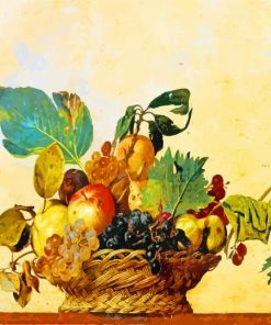 Basket of Fruit by Caravaggio paint by numbers