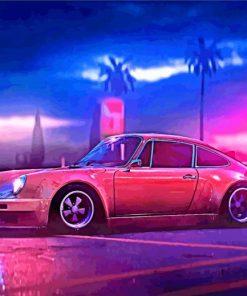 Black Porsche RWB Car paint by number