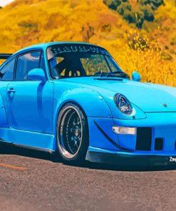 Blue RWB Porsche paint by number