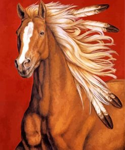 Brown Indian Horse paint by numbers