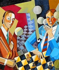 Cubist Chess Players paint by number