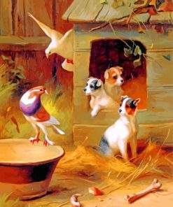 Edgar Hunt Pigeons and Puppies paint by number