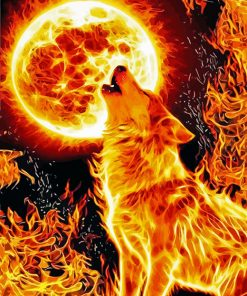 Fire Wolf paint by numbers