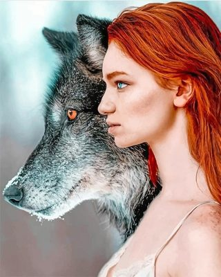 Ginger-hair-wolf-woman-adult-paint-by-numbers