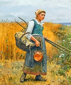 Girl In Harvest Field Paint by numbers