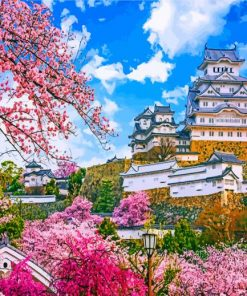 Himeji Castle Cherry Blossom Paint by numbers