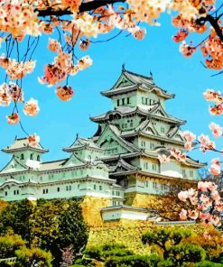 Himeji Castle Spring Paint by numbers