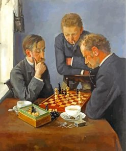 Men Playing Chess paint by numbers