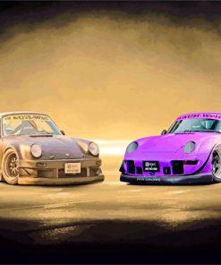 Purple And Black RWB Porsche paint by number
