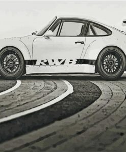 RWB Porsche Black and White paint by number