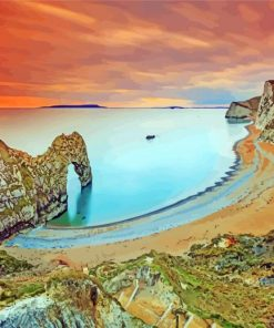 Sunset At Durdle Door paint by numbers