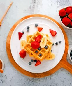 Sweet Waffles And Fruits paint by number