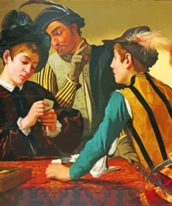 The Cardsharps by Caravaggio paint by number