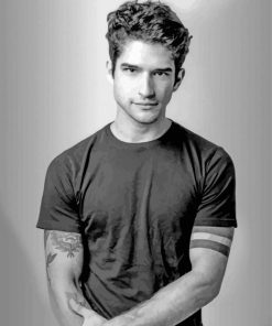 Tyler Posey Black and White paint by number