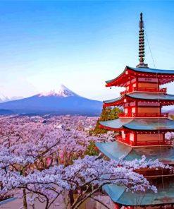 Arakurayama Sengen Cherry Blossom Paint by numbers