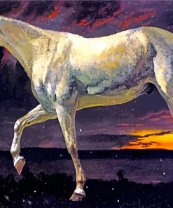 Bierstadt White Horse And Sunset paint by number