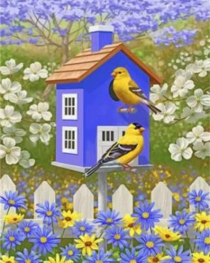 Yellow Birds In Their House Paint by numbers