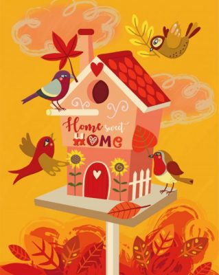 Bird House Illustration Paint by numbers