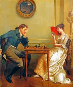 George Goodwin Kilburne A Game Of Chess paint by number