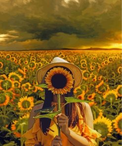 girl-holding-a-sunflower-paint-by-numbers
