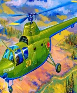 Green Helicopter Paint by numbers