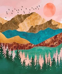 Metallic Mountains Landscape paint by numbers