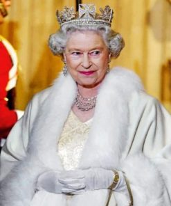 Queen Elizabeth Wearing White paint by numbers