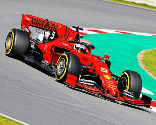 Red Formula One paint by number