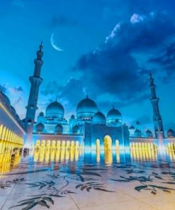 Sheikh Zayed Mosque At Night paint by numbers