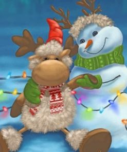 Snow Man And Reindeer paint by numbers